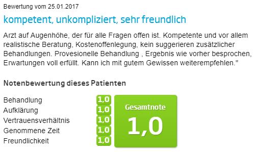 Fadenlift Bewertung auf Jameda -  Dr. med. Lange